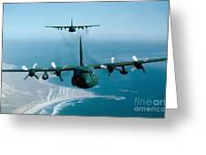 A Pair Of C-130 Hercules In Flight Greeting Card