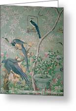 A Pair Of Magpie Jays  Vintage Wallpaper Greeting Card
