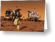 A Pair Of Manned Mars Rovers Rendezvous Greeting Card