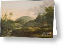 A Pair Of Mountain Landscapes With Staffage Greeting Card