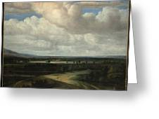 A Panoramic Landscape With A Country Estate Greeting Card