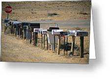 A Parade Of Mailboxes On The Outskirts Greeting Card