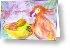 A Parrot And The Passion Fruit Greeting Card