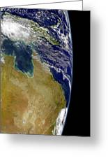 A Partial View Of Earth Showing Greeting Card by Stocktrek Images