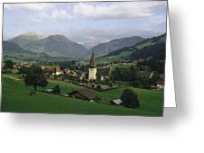 A Pastoral View Of A Village Greeting Card