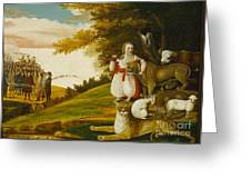 A Peaceable Kingdom With Quakers Bearing Banners Greeting Card