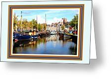 A Peaceful Canal Scene - The Netherlands L A S With Decorative Ornate Printed Frame. Greeting Card