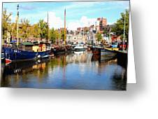 A Peaceful Canal Scene - The Netherlands L B Greeting Card
