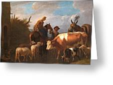 A Peasant Couple Amongst Their Cattle And Sheep Greeting Card