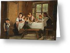 A Peasant Family At Their Meal With A Crying Boy Greeting Card