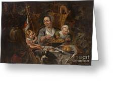 A Peasant Family Dining Greeting Card