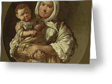 A Peasant Mother With Her Child In Her Arms Greeting Card