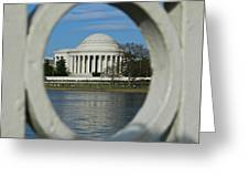 A Peek At The Jefferson Memorial Greeting Card