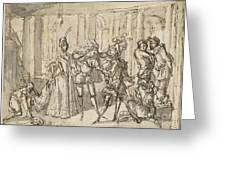 A Performance By The Commedia Dell'arte Greeting Card