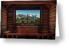 A Pew With A View Greeting Card