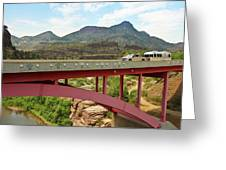 A Pickup Pulling A Travel Trailer Across The Salt River Canyon B Greeting Card