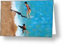 A Piece Of The Beach - Orange Swim Greeting Card