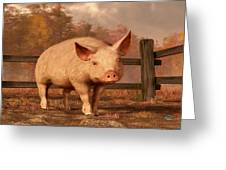 A Pig In Autumn Greeting Card