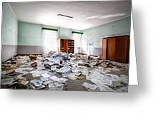 A Pile Of Knowledge - Abandoned School Building Greeting Card