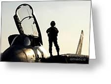 A Pilot Prepares To Enter His F-14b Greeting Card
