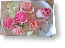A Plate Of Roses Greeting Card
