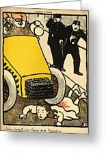 A Police Car Runs Over A Little Girl Greeting Card by Felix Edouard Vallotton