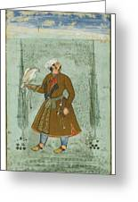 A Portrait Of A Nobleman Holding A Falcon Greeting Card