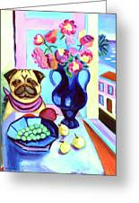 A Pug's Dinner At Henri's - Pug Greeting Card