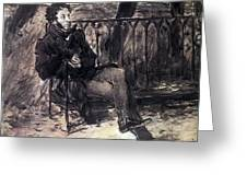 A Pushkin On A Garden Bench 1899 Valentin Serov Greeting Card