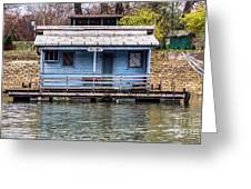 A Raft House Moored To The Shoreline Of Ada Ciganlija Islet Greeting Card