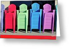 A Rainbow Of Chairs Greeting Card
