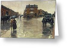 A Rainy Day In Boston Greeting Card