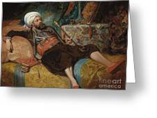 A Reclining Turk Smoking A Hookah, 1844 Greeting Card