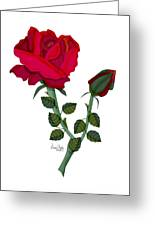 A Red Rose Blooms In Winter Greeting Card