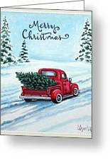 A Red Truck Christmas Greeting Card