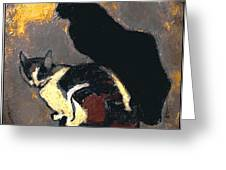 A Replica Of The Cats By Theophile Alexandre Steinlen Greeting Card