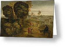 A River Landscape With Figures On A Country Road Greeting Card