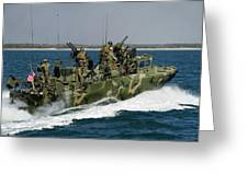 A Riverine Command Boat Conducts Greeting Card