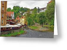 A Riverside Cafe Along The Vltava River In The Czech Republic Greeting Card