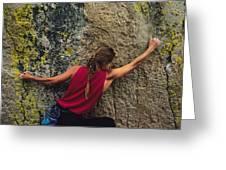 A Rock Climber On A Boulder Greeting Card
