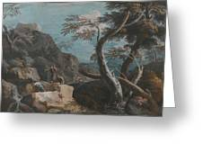 A Rocky Wooded Landscape With Three Peasants Greeting Card