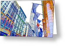 A Row Of Flags In The City Of New York 1 Greeting Card
