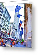 A Row Of Flags In The City Of New York 2 Greeting Card