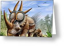 A Rubeosaurus And His Offspring Greeting Card
