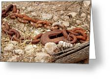 A Rusty Chain And Hook Greeting Card