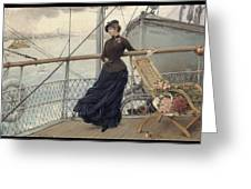 A Scottish Lady On A Boat Arriving In New York Henry Bacon Greeting Card