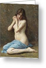 A Seated Nude With A Blue Drape Greeting Card