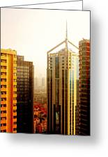 A Shanghai Sunset Greeting Card by Christine Till