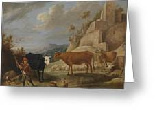 A Shepherd With His Flock In A Landscape With Ruins Greeting Card