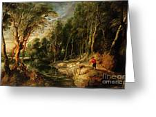 A Shepherd With His Flock In A Woody Landscape Greeting Card